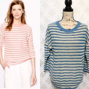 J. Crew Linen Slouchy Striped Sweater